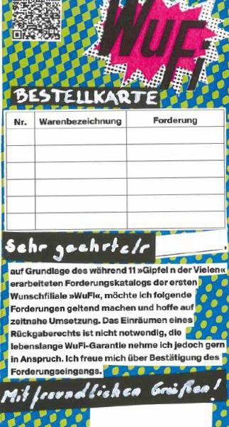 WuFi Bestellkarte