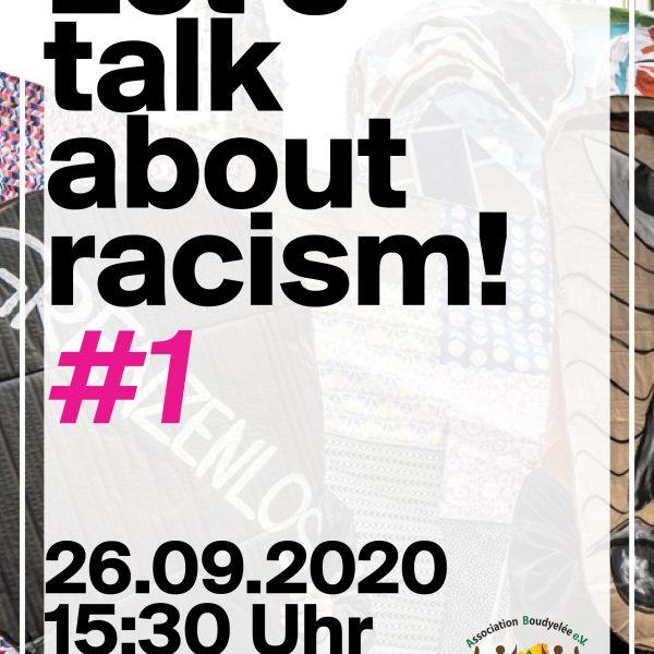 "Plakat zur Veranstaltung ""Let's talk about racism!"" am Samstag, 26.09.2020, 15:30 Uhr im café nova"