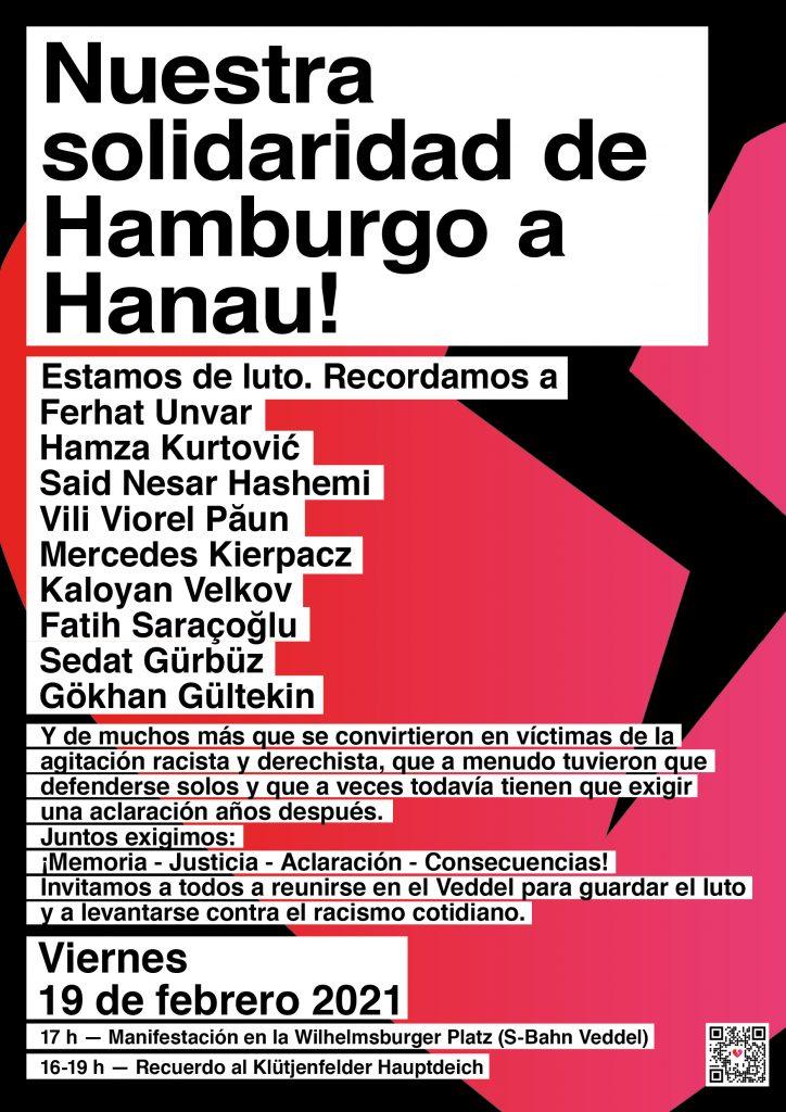 Plakat_1JahrHanau_Kundgebung_spanisch